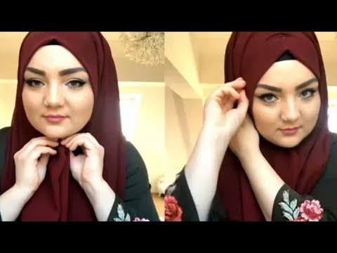 صورة لفات حجاب تركية للوجه الدائري , اشكال راقية من لفات الطرح للمحجبات ذات الوجه الدائرى