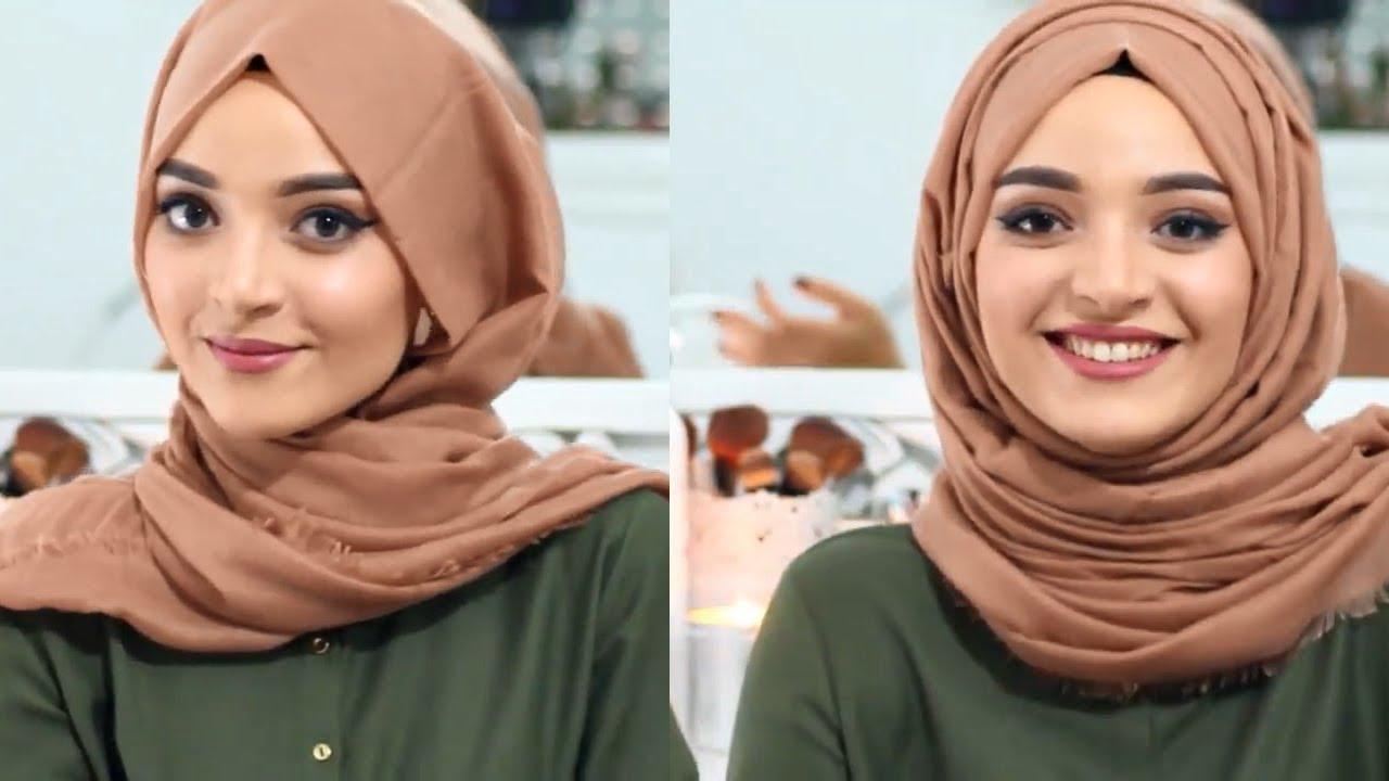 صورة لفات حجاب بسيطة وانيقة بالخطوات، احلى لفات طرح تحفة